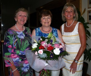 Lady President Marie and Lady Captain Anne congratulate Anne Quigley who had a Hole in One on the 5th during Lady President Marie's  prize to the las dies on a tues 29th July.