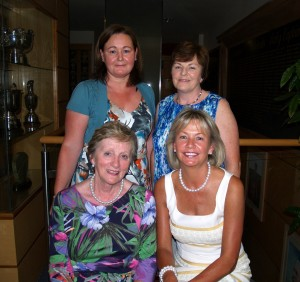 Winner of Lady President Marie's prize Catherine Cafferty and runner up Anne Quigley with Lady President Marie and Lady Captain Anne.