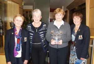 Congratulations to Catherine Smyth who won Golfer of the Year.  Catherine had a truly memorable year.  She started off the year with  good performances on the second day of  Lady Captain's prize and in Professional Leslie Walker's prize.  She had a clean sweep in July and August firstly winning President Vera's with a great score of 69 and then winning Captain Noel's prize with an even better score of 67. The icing on the cake was clinching Golfer of the Year by two shots leading the pack the whole way through. Catherine has lost two shots on each of her big wins and a further two shots under ESR (exceptional score reduction). a total of six shots from a handicap of 20 down to 14.  These last two shots were lost due to her good performance at the start of the season.  Food solutions sponsored the Golfer of the Year and Joan Martin presented the prize on behalf of the sponsors.