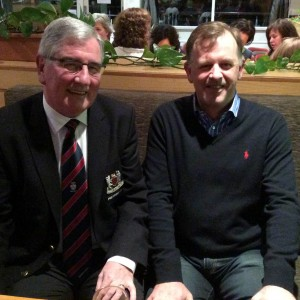 President Tom Clarke welcomes new member Dermot McKenna to Dundalk Golf Club.