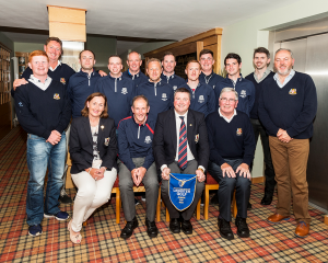 Leinster Junior Cup Champions 2015, Back Row . L>R: Josh Mackin, Maurice Soraghan, John Conlon, Richard Newell, Billy Kearnes, Conor McCaughey, Alan Hurley, Kieran Sheridan, Eoin Murphy, Aaron King, Fergal Harte and Clem Walsh (Team Captain). Front row L>R: Lady Captain Mary Lou Grennan, Terry Conlon (Team Captain),Captain Brendan Keane and President Tom Clarke.