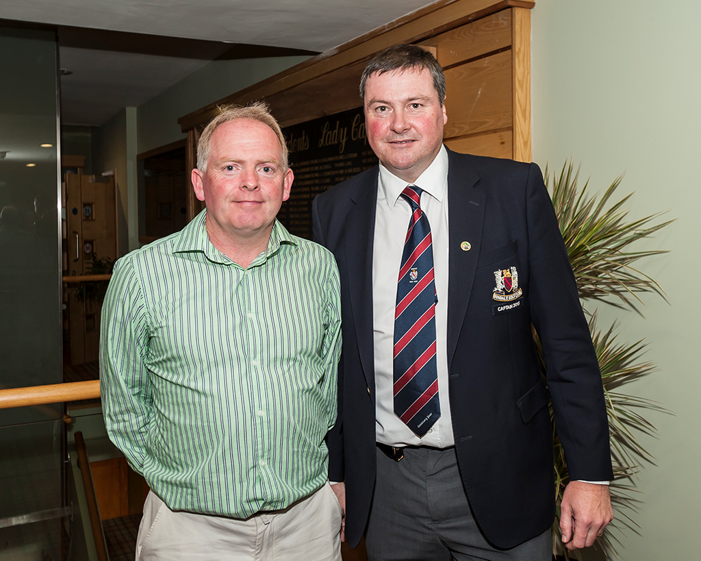 Captain's prize winners Paul O'Callghan and 2015 Captain Brendan Keane.