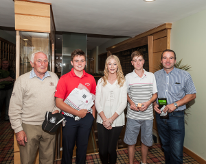 (Adult and 18 Hole Boy - 20 handicap and under).  L>R: Pat McGuinness & Cian Lynch McGrave (First), Amy Rafferty (Sponsor - Declan Rafferty) and Conall & Derek Murdock (Second).