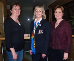 Olivia Cunningham and Elaine Ward with Lady Captain Anne