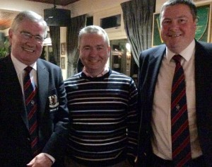President Tom Clarke and Captain Brendan welcome Diarmuid Dullaghan to Dundalk Golf Club.