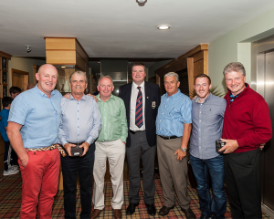 L>R: Ultan Herr (4th), Pat Curran (Veteran Winner), Paul O'Callaghan (Overall Winner Captains Prize 2015), Captain Brendan Keane, George Rogers (2nd), Ciaran Sheridan (3rd) and Peter Rogers Winner of Gross Prize).