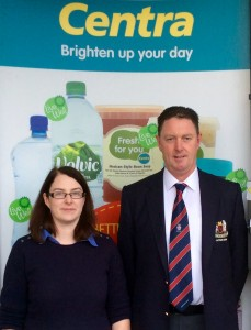 Captain Maurice Soraghan and Ciara Matthews, Manageress, Tiernan's Centra, Blakrock Village Centre at the announcement of Centra's sponsorship of the 2016 Winter League.
