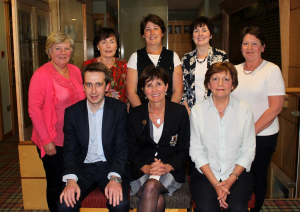 Open Week Singles, front row, left to right: Sponsors, McDonough and Breen, Lady Captain Jean Connolly, Pauline Murphy. Back left to right: Leone Ballie, Ann Murray, Ruth Black, Pauline Campbell, Mary M McDonnell.