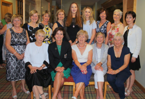 Day One Winners - Front Left to Right: Rosemary Gardiner, Lady Captain Jean Connolly, Lucy Greenan, Lesley O'Keefe, Mary Carthy. Back Left to Right: Teresa Byrne, Mary Connor, Mia Quinn, Una Connolly, Zoe Hallahan, Ellen McEneaney, Niamh Maguire, Geraldine Blackmore, Bernie Prendergast.