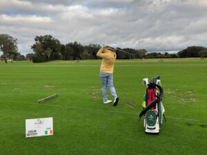 Caolan Rafferty warms up on the range at the 2020 Palmer Cup